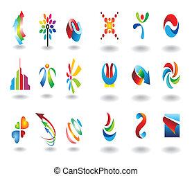 logotipo, elementos, projeto fixo
