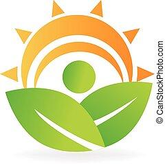 logotipo, energia, saúde, folheia, natureza
