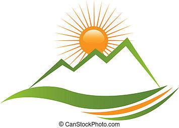logotipo, ensolarado, montanha