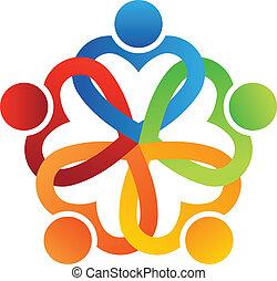 logotipo, equipe, entrelaçado, 5, corações