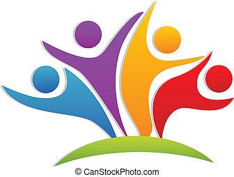 logotipo, feliz, trabalho equipe, sócios