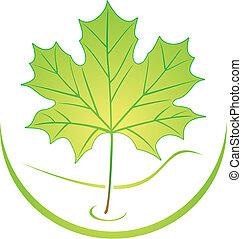 logotipo, folha