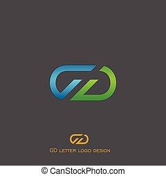 logotipo, g, d, letra, desenho