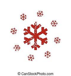 logotipo, grunge, neve, vermelho