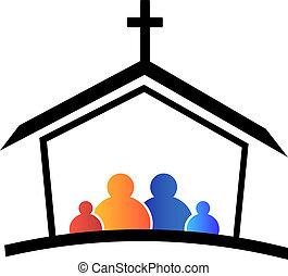 logotipo, igreja, família, fé