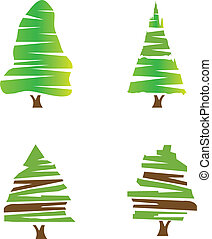 logotipo, jogo, árvores verdes, estoque