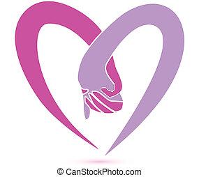 logotipo, junto, mãos