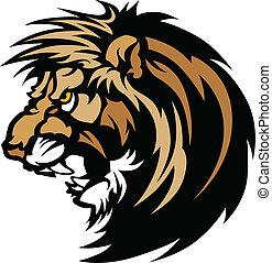 logotipo, leão, gráfico, cabeça, mascote