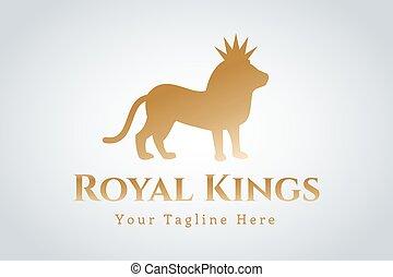 logotipo, leão, vetorial, real, silueta