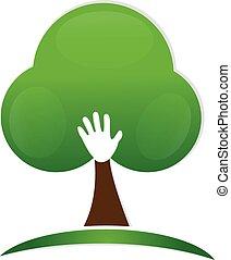logotipo, mão, árvore, pessoas