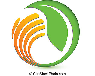 logotipo, mão, ambiental, protegendo
