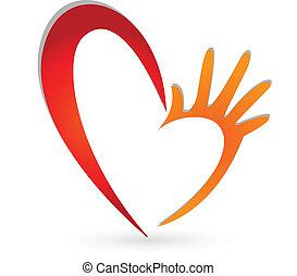 logotipo, mãos, coração