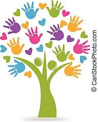logotipo, mãos, corações, árvore