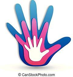 logotipo, mãos, família, ícone
