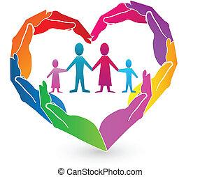 logotipo, mãos, família, coração