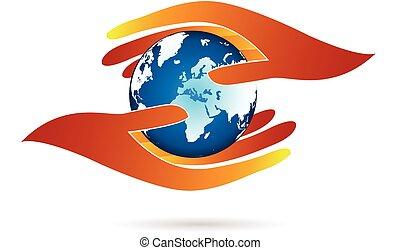 logotipo, mãos, mundo, protegendo