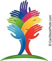 logotipo, mãos, vetorial, árvore