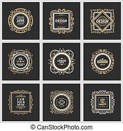 logotipo, modelo, luxo, monogram