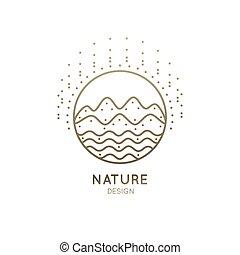 logotipo, montanha, rio, ensolarado