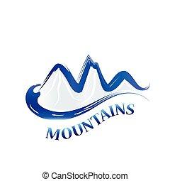 logotipo, montanhas azuis, aquarela
