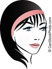 logotipo, mulher, bonito