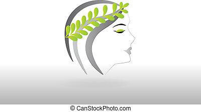 logotipo, mulher, bonito, rosto