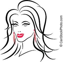 logotipo, mulher, moda, beleza, rosto