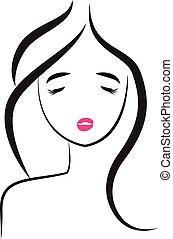 logotipo, mulher, pretty-sexy, rosto