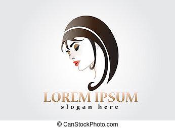 logotipo, mulher, silueta, bonito, rosto