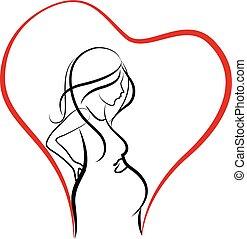 logotipo, mulher, silueta, grávida