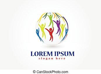 logotipo, mundo, vetorial, pessoas