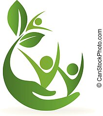 logotipo, natureza, cuidado saúde