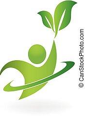 logotipo, natureza, saudável, vida