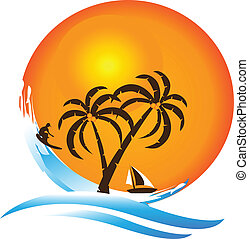 logotipo, paraíso tropical, ilha