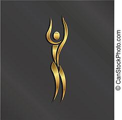 logotipo, pessoa, dourado, ioga