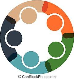 logotipo, pessoas, círculo, negócio