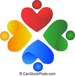 logotipo, pessoas, coração