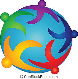 logotipo, pessoas, mundo, equipe