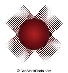 logotipo, projeto abstrato, vermelho