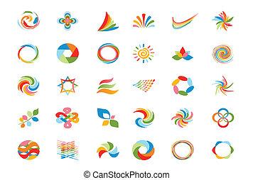 logotipo, projeto fixo, elementos