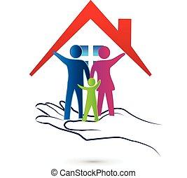 logotipo, proteção, família, cuidado