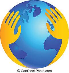logotipo, protegendo, sobre, mundo, mãos