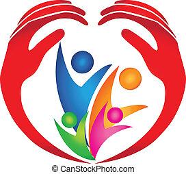 logotipo, protegido, família, mãos