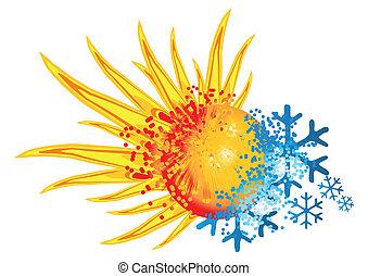 logotipo, quentes, gelado
