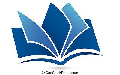 logotipo, símbolo, vetorial, livro