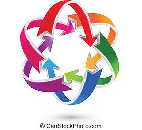 logotipo, setas, coloridos, negócio