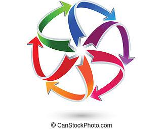 logotipo, setas, coloridos