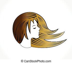 logotipo, silueta, mulher, bonito, rosto