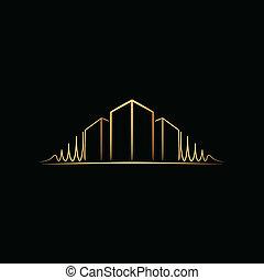 logotipo, sobre, arquiteta, pretas