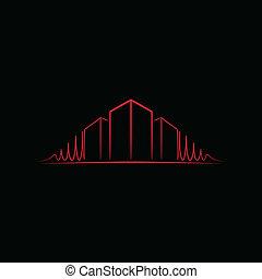 logotipo, sobre, arquiteta, preto vermelho